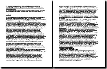 La doctrine administrative en matière fiscale (garanties du contribuable contre les changements de doctrine + REP