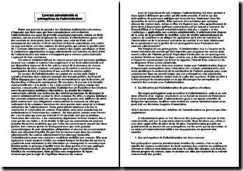 Contrats administratifs et prérogatives de l'administration
