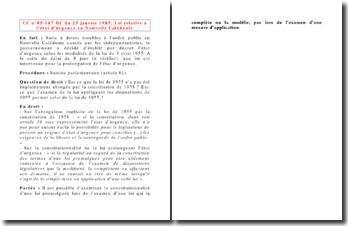 CC n 85-187 DC du 25 janvier 1985, Loi relative à l'état d'urgence en Nouvelle Calédonie