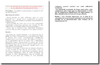 CC n 91-290 DC du 9 mai 1991 Loi portant statut de la collectivité territoriale de Corse