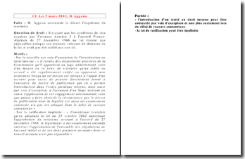 Conseil d'Etat, 5 mars 2003, M Aggoun