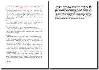 Conseil d'Etat, 30 juin 2000, Association Avenir de la Langue Française