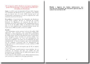 TC, 13 janvier 1992, Préfet de la région Aquitaine, préfet de la Gironde c/ Association nouvelle des Girondins
