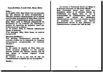 Conseil d'Etat, 8 avril 1961, Dame Klein