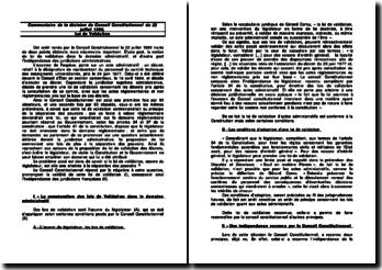 Commentaire de la décision du Conseil Constitutionnel du 22 juillet 1980 - Loi de validation