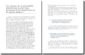 Analyse : Les régimes de responsabilité administrative pour faute protègent-ils les administrés ou les agents publics ?
