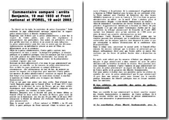 Commentaire comparé : arrêts Benjamin, 19 mai 1933 et Front national et IFOREL, 19 août 2002