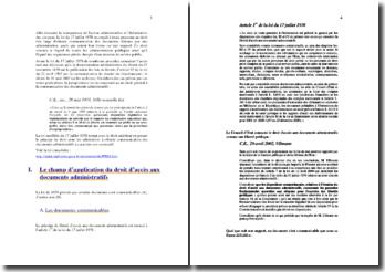 L'accès au document administratif