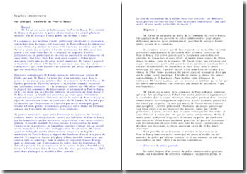 Cas pratique corrigé sur la police administrative - Cas pratique 'Commune de Pont-le-Rancy'