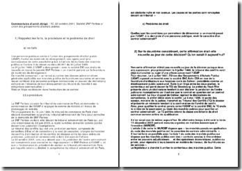 Tribunal des Conflits, 22 octobre 2001, Société BNP Paribas c/ union des groupements d'achats publics