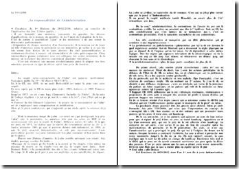 La responsabilité de l'Administration (à jour 2008)