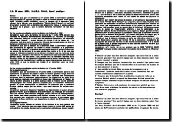 Conseil d'Etat, 30 mars 2001, S.A.R.L. Vérité, Santé pratique