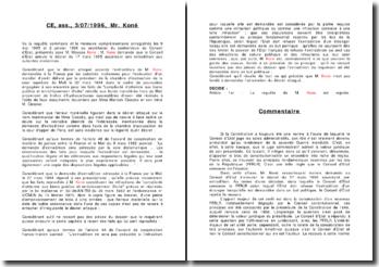 Commentaire Koné 3 juillet 1996