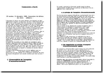 CE section, 11 décembre 2008, Association de défense des droits militaires