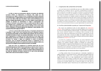 Le principe de libre administration des collectivités territoriales