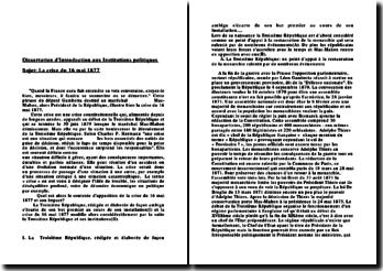 Analyse de la crise du 16 mai 1877