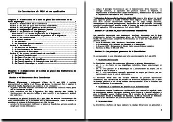 La Constitution de 1958 et son application