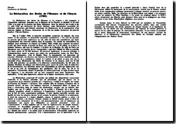 La Déclaration des Droits de l'Homme et du Citoyen (1789)