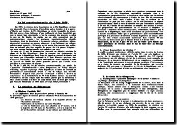 La loi constitutionnelle du 3 juin 1958 - résolution d'une instabilité et d'une inefficacité structurelle