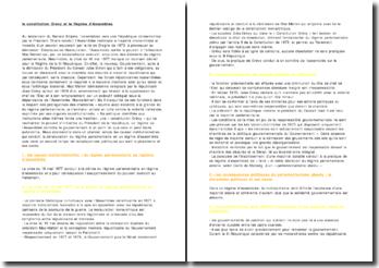 La constitution Grévy et le Régime d'Assemblée