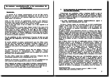 La coutume constitutionnelle et les conventions de la Constitution