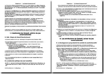 L'institution et les attributions du Conseil Constitutionnel