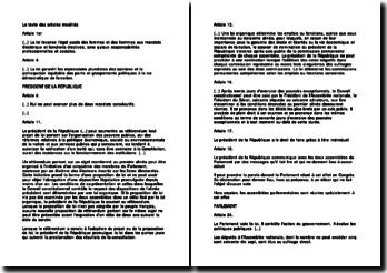 Modifications de la Constitution par la révision du 23 juillet 2008