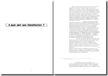 A quoi sert une constitution ?