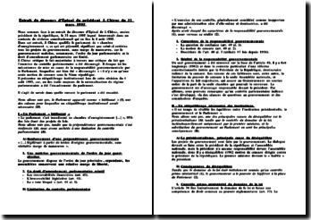 Commentaire de l'extrait du discours d'Epinal du président J. Chirac du 31 mars 1995