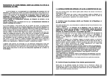 Commentaire des travaux du comité Balladur relatif aux articles 5 et 20 de la Constitution de 1958