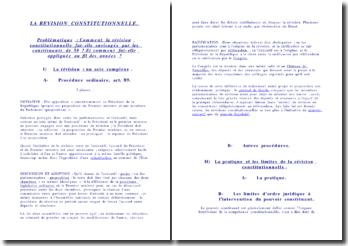 Comment la révision constitutionnelle fut-elle envisagée par les constituants de 1958 ?