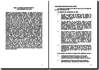 Le conseil constitutionnel et le gouvernement des juges