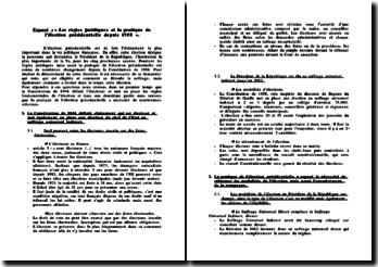 Les règles juridiques et la pratique de l'élection présidentielle depuis 1958