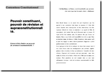 Pouvoir constituant, pouvoir de révision et supraconstitutionnalité