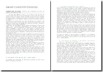Commentaire du Préambule de la Déclaration des Droits de l'Homme et du Citoyen de 1789