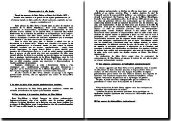 Commentaire du message de Jules Grévy au Sénat du 6 février 1879