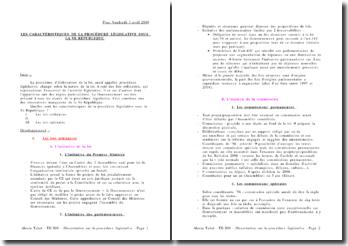 Les caractéristiques de la procédure législative sous la Vème République