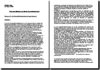 Le conseil constitutionnel : juge électoral - élections présidentielles, élections parlementaires, référendum, contrôle de conformité
