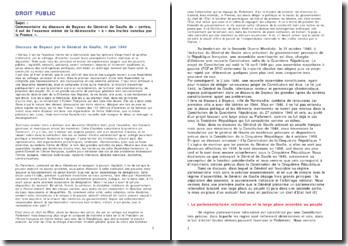 Commentaire du discours de Bayeux du Général de Gaulle de « certes, il est de l'essence même de la démocratie »