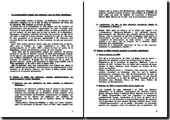 La responsabilité pénale des ministres sous la Vème République
