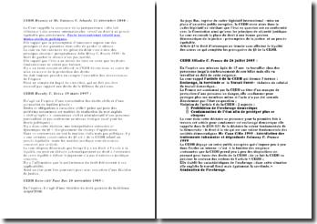 Fiche de 4 décisions importantes de la Cour Européenne des Droits de l'Homme CEDH