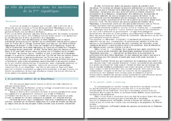 Le rôle du Président de la République dans les institutions de la Vème République