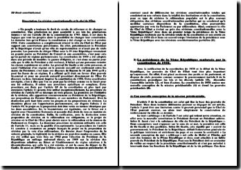 Les révisions constitutionnelles et le Chef de l'Etat sous la Vème République