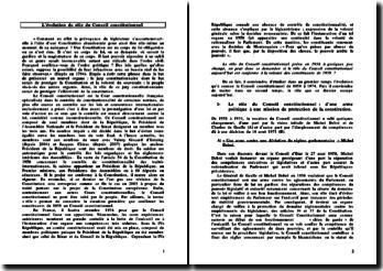 L'évolution du rôle du Conseil Constitutionnel - conformité aux aspirations initiales de sa réforme