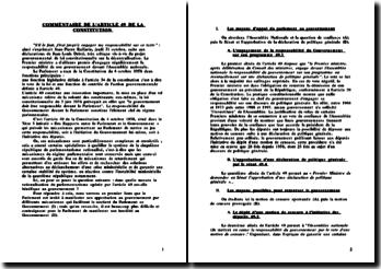 Commentaire de l'Article 49 de la Constitution - le parlement et le gouvernement: appui et moyens d'opposition