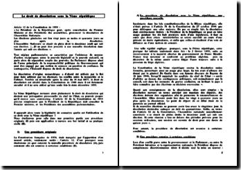 Le droit de dissolution sous la Vème république - prérogative personnelle du chef de l'Etat