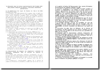 Le Parlement dans la révision constitutionnelle du 23 juillet 2008