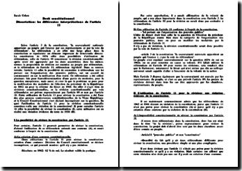 Les différentes interprétations de l'article 11 de la Constitution