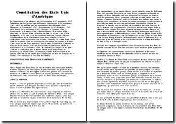 Constitution des Etats-Unis d'Amérique