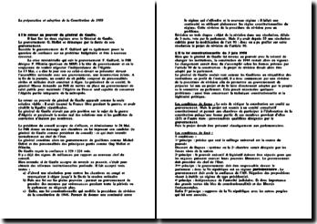 La préparation et adoption de la Constitution de 1958